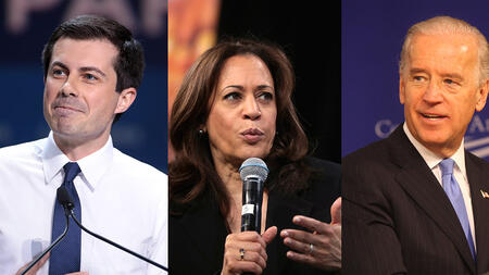 2020 Democratic presidential candidates Pete Buttegieg, Kamala Harris, and Joe Biden