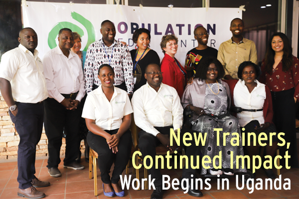 June PMC ePhoto of Ugandan and HQ PMC staff with text new trainers, continued impact: Work begins in Uganda