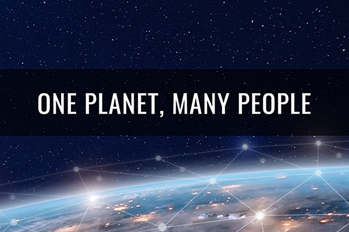 Image of Earth and stars with text One Planet, Many People