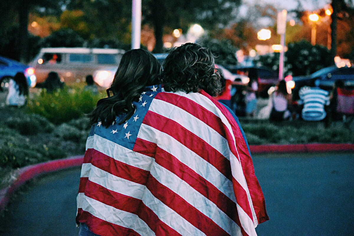 Women wearing American flag