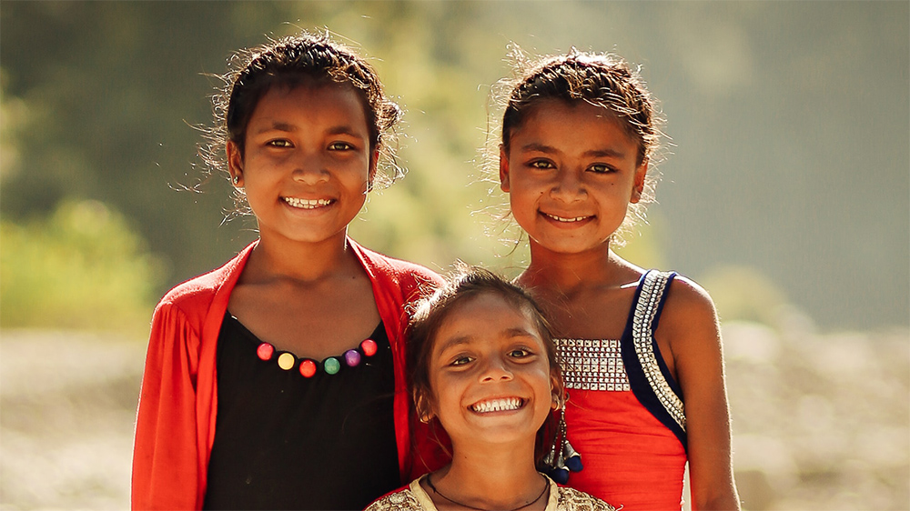 Nepalese girls smiling