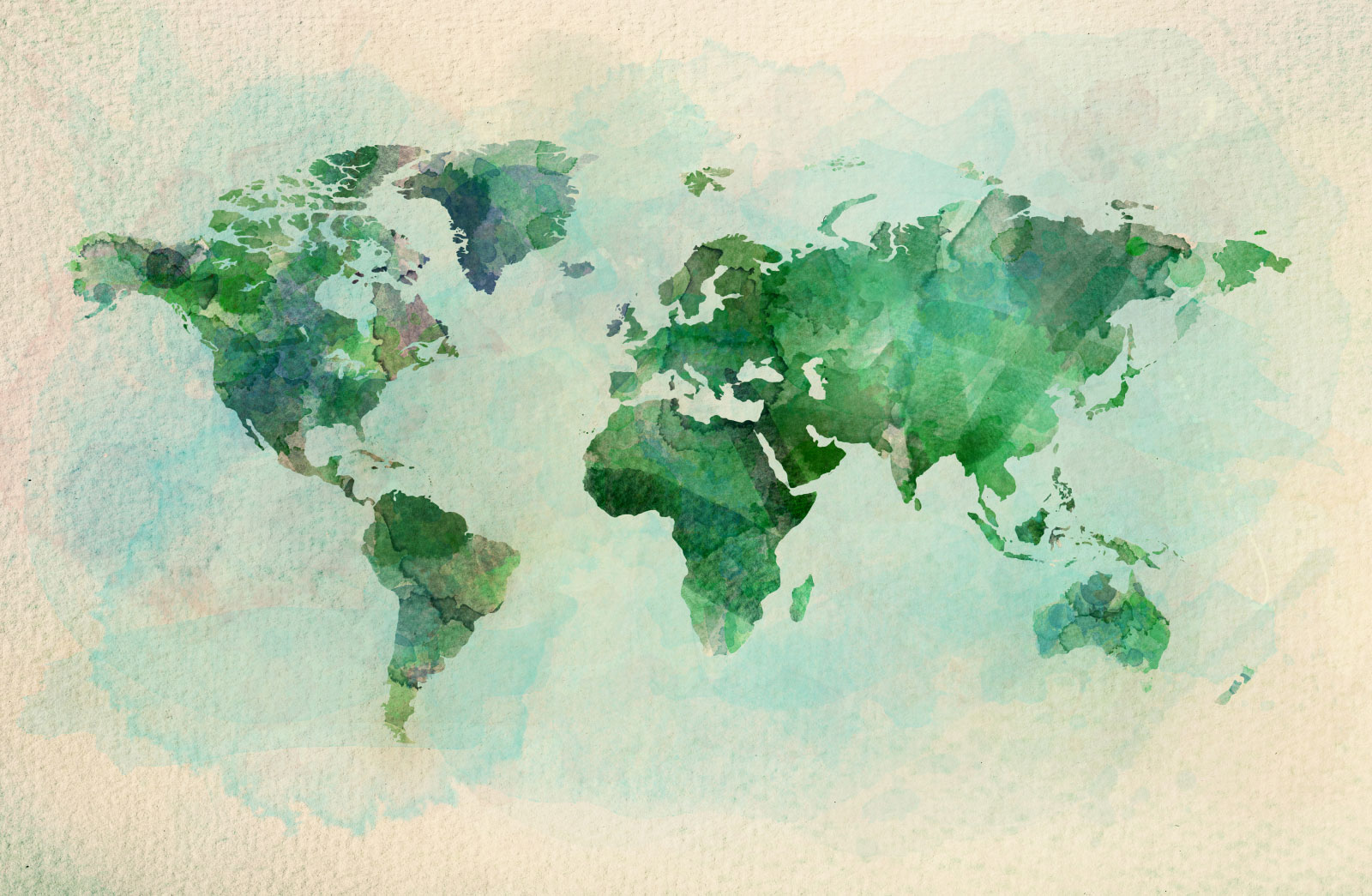 World Map in Emerald Colors